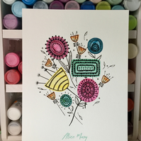 personalised Scattered Flower Bouquet art print