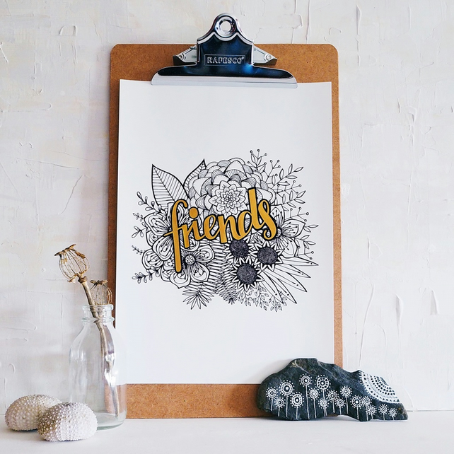 FRIENDS hand finished botanical A4 art print