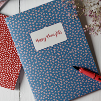Happy Thoughts personalisable A5 handmade notebook sketchbook journal