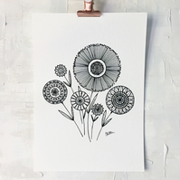 contemporary black and white floral posy illustrated A4 Art Print