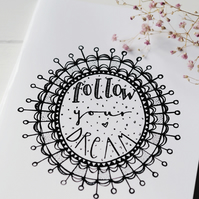 Follow Your Dream A5 handmade notebook sketchbook journal
