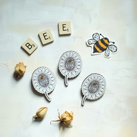 Bee Kind wooden flower brooch
