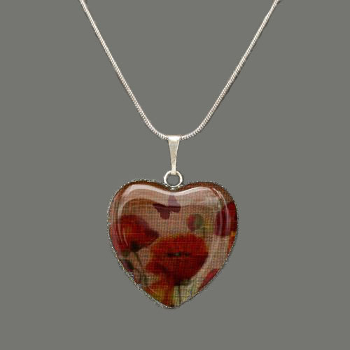 Poppies Glass Heart Pendant