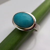 Amazonite Ring handmade in Gold and Sterling Silver