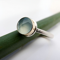 Blue Chalcedony Ring in Gold and Sterling Silver