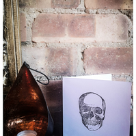 10 X Handprinted Skull Greetings Card - Blank - Pack of 10