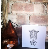 Handprinted Skeleton Greetings Card - Blank