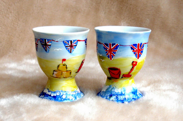 Handpainted Pair of traditional seaside egg cups