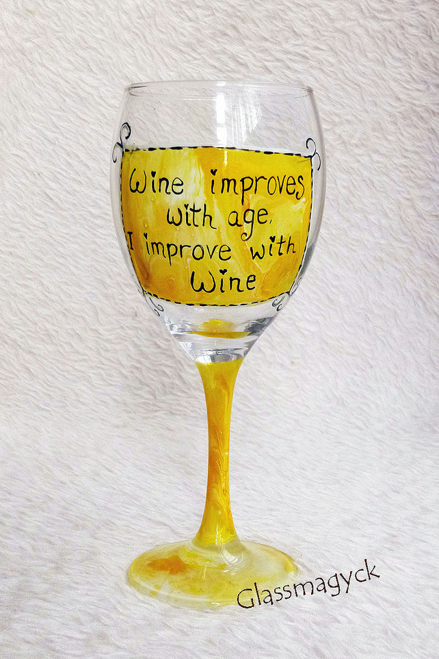 Funny quotes wine glass folksy for Cute quotes for wine glasses