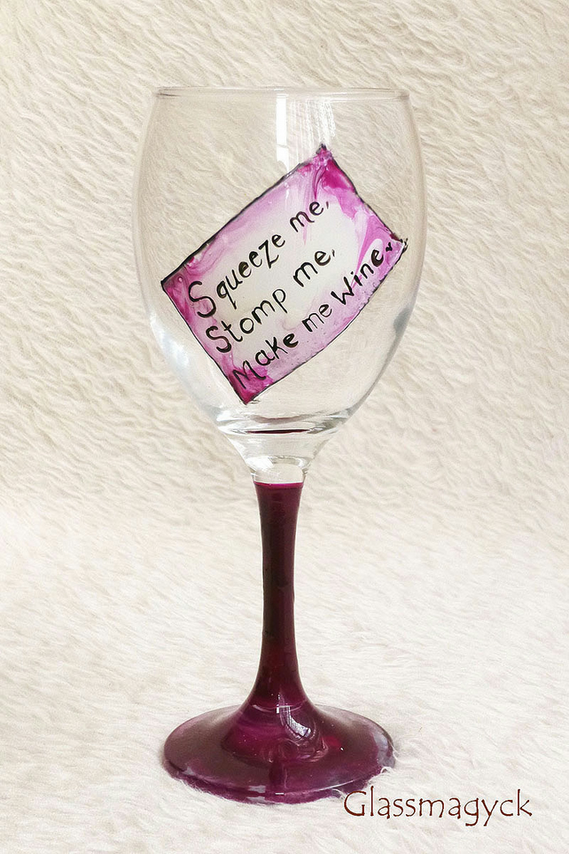 Pink funny quotes wine glass folksy for Cute quotes for wine glasses