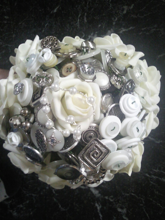 Silver Ivory white button flower brooch bouquet - vintage shabby chic wedding