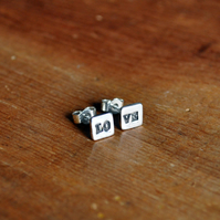 Fine Silver Square 'Love' Stud Earrings