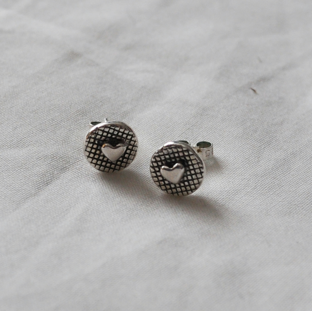 Fine Silver Heart Detail Stud Earrings