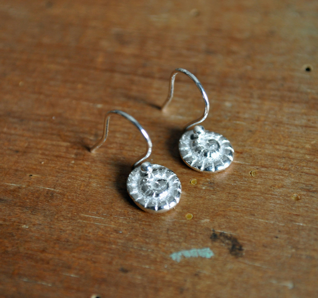 Ammonite Fine Silver Stud Earrings