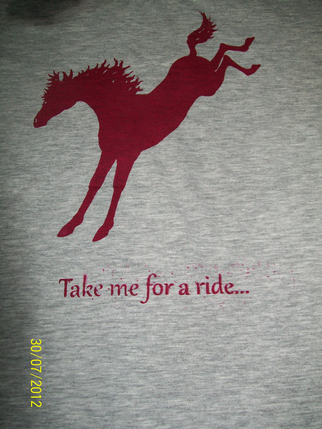 Cheeky funny humorous horse riding top, t shirt all sizes hand printed