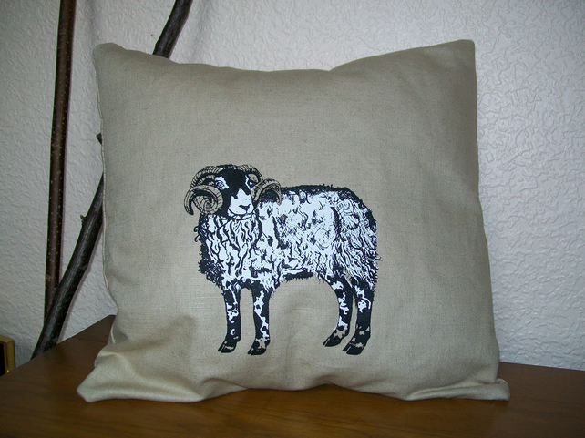 Home decor Swaledale sheep Hand printed linen cushion