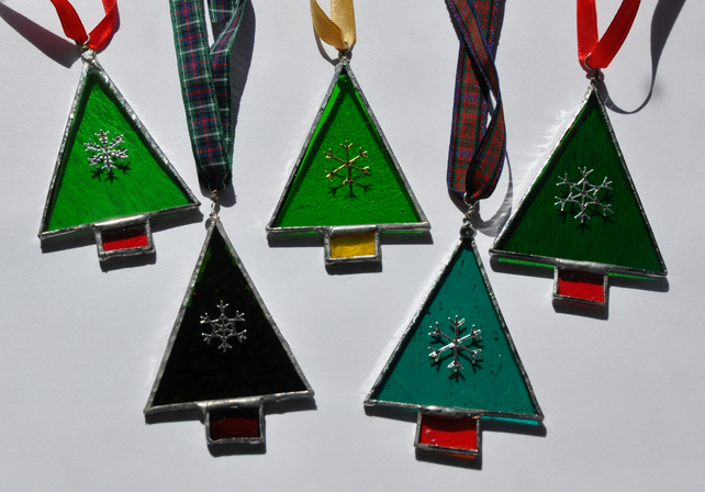 stained glass christmas tree decorations x 2 sale