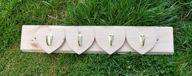 Pine Wooden Heart Coat Rack
