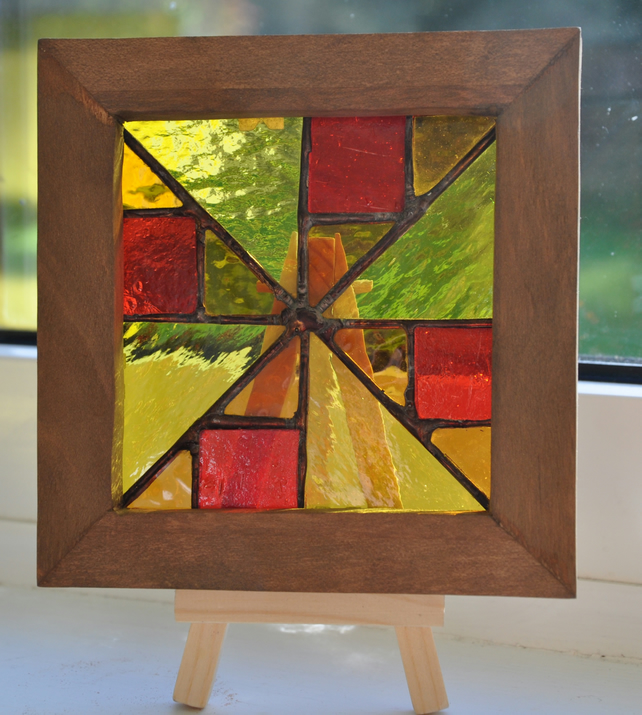 Framed Stained Glass Quilt Pattern Picture Sun Folksy