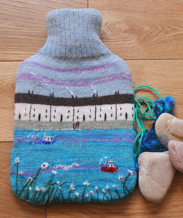 Knitting Patterns For Hot Water Bottle Covers : Knitted hot water bottle cover with seaside des... - Folksy