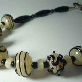 Glass Agate Onyx cream and black necklace lampwork glass