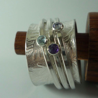 Spinner wide silver 3 spinner gemstones ring ready to ship T patterned