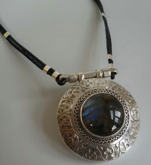 Labradorite silver pendant leather cord silver toggle clasp upcycled pendant