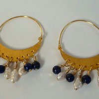Lapis pearls gold vermeil tribal earrings crescent moon shape