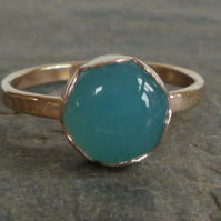 Blue Chalcedony gold vermeil ring