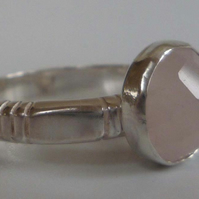 Rose Quartz upcycled silver ring size O