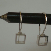 silver square earrings minimalist small Free P&P