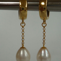 Pearls 24ct Gold Vermeil Silver lever backs