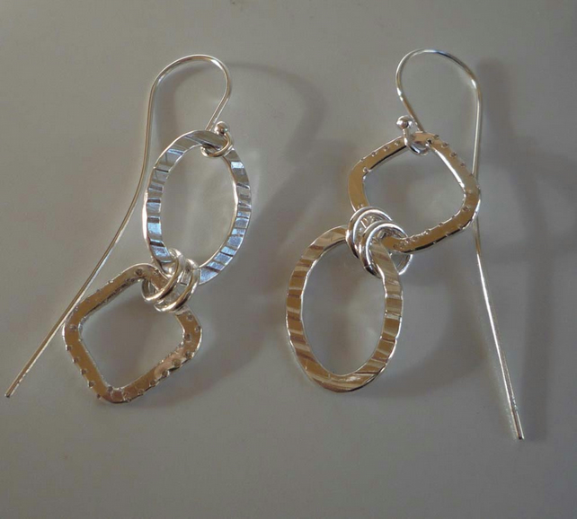 Sterling silver earrings assymetric textured long 45mm
