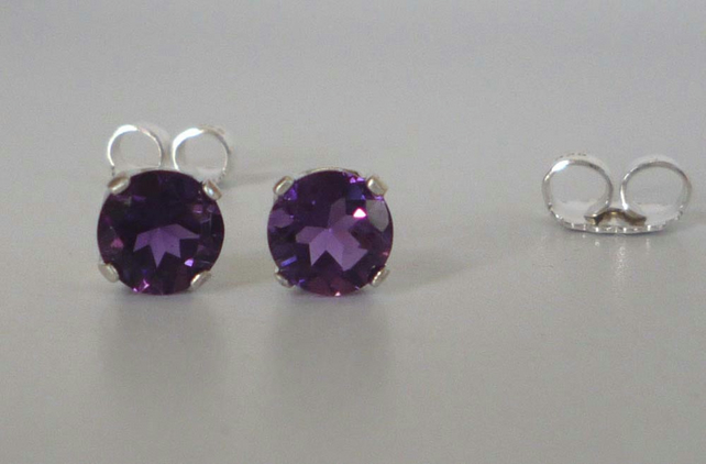 Amethyst Argentium silver post and scroll stud earrings