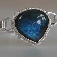Labradorite silver bangle opening blue flash large cabochon