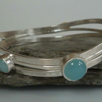 Gold, Labradorite, Silver, Chalcedony,Argentium bangle one of a kind