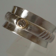Diamond Silver spinner ring 18ct gold accent size Q