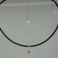 Silver nugget Ruby gemstone rubber necklace or silver snake