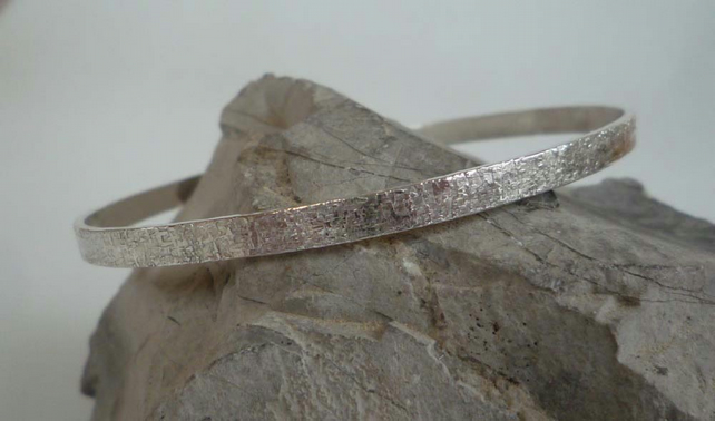 Sterling silver bangle textured raw silk pattern small to medium fit oval