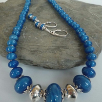 Silver Hollowform and blue glass beads necklace earrings statement Free Shipping