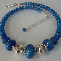 Silver blue glass beads necklace earrings set hallmarked statement