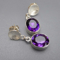 Amethyst Silver post and scroll stud drop earrings statement February birthstone
