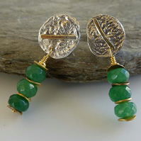 Emerald silver gold dangle post and scroll earrings