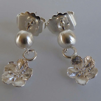 Silver flower post and scroll stud earrings forget me not