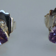 Amethyst trillion silver post and scroll stud earrings