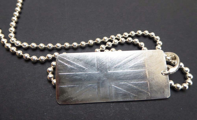 "Union Jack silver 18"" chain British flag pendant dog tag hallmarked"