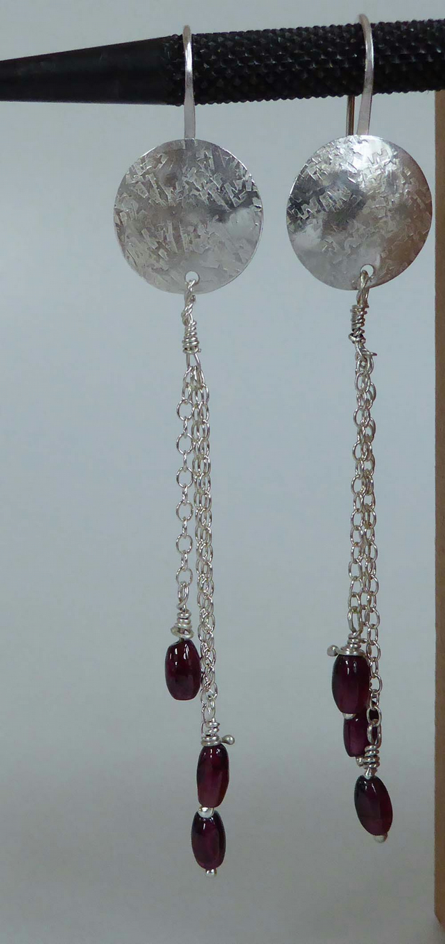 Garnet silver chain drop earrings long