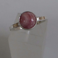 Pink Rhodochrosite silver ring size 8 or P