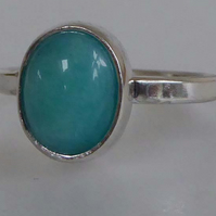 Peruvian blue Amazonite set in silver ring size P