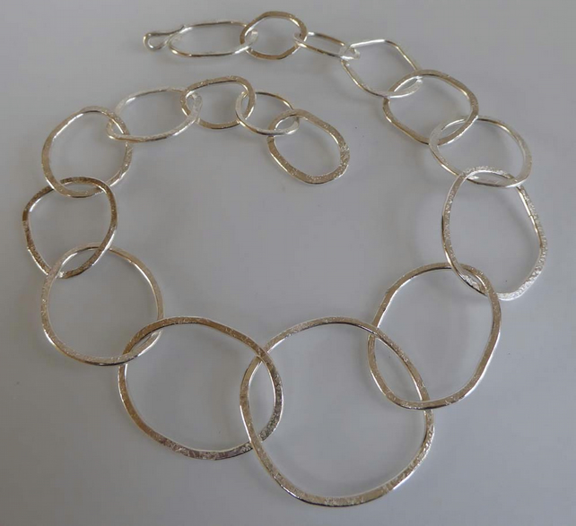 "Reserved for Nancy O silver rings necklace freeform large rings 16"" long"